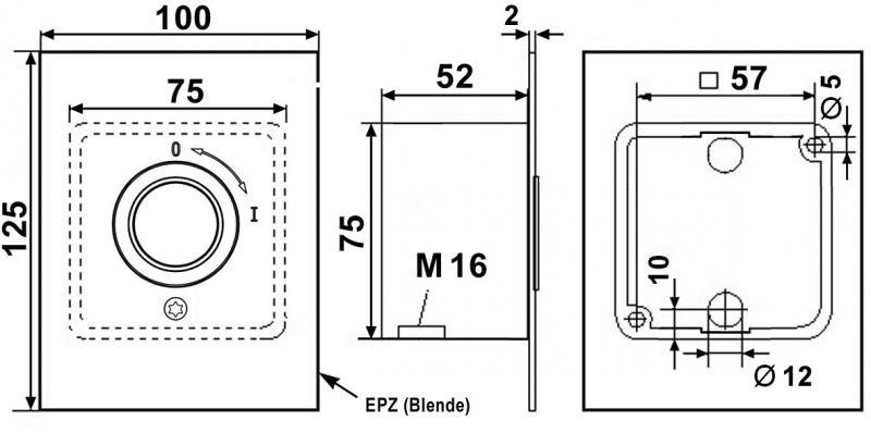 """WTS - Feuerwehrschalter """"compact"""" mit 1 Rast-Kontakt (1S + 1Ö) AUS/ EIN ,wassergeschützt - IP 54"""