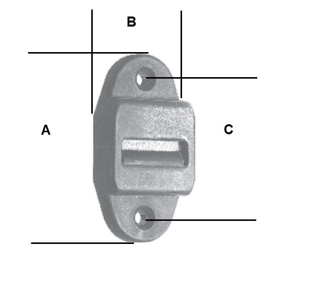 Mini-Gurtführung mit verdeckter Leitrolle und Bürste, weiß, Anschraubplatte 23x58 mm