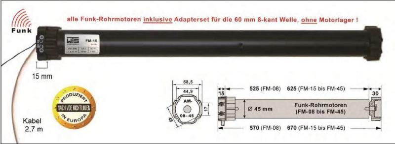 WTS Funk Rohrmotor Serie FM mit integriertem Empfänger(868MHz) FM-08 bis FM-45