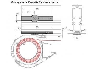 Montagehalter Kassette für Murano Vetro - für Lewens Portofino Unterglasmarkise