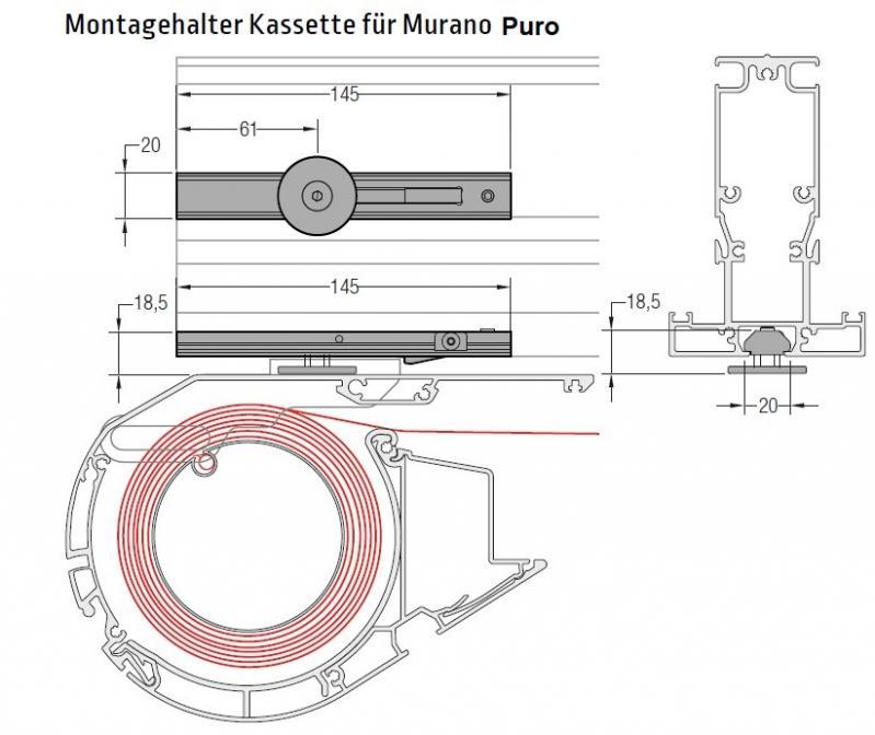 Montagehalter Kassette für Murano Puro - für Lewens Portofino Unterglasmarkise