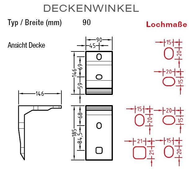 Deckenwinkel für Lewens Toscana GrandeMarkise Deckenmontage
