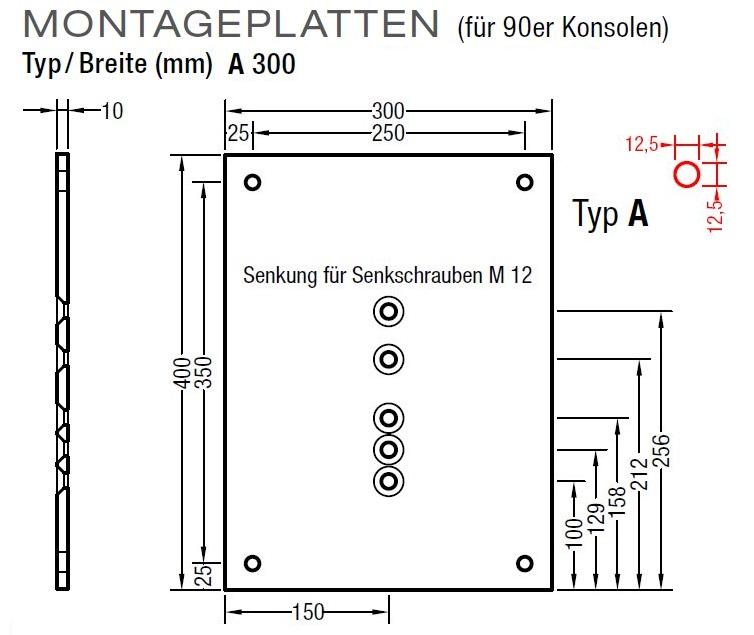 Montageplatten A 300mm und B 500mm für Lewens Markisen für 90er Konsolen