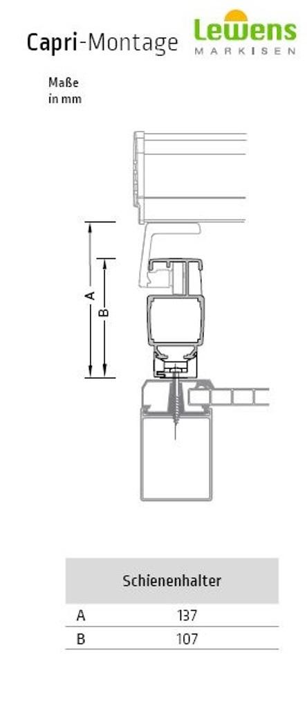 Schienenhalter für Lewens Capri Aufdachmarkise und Pergola Markise