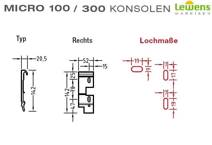 Wandkonsole Wandhalter für Lewens Micro 100 und 300 Senkrechtmarkise,Links,Mitte und Rechts zur Auswahl