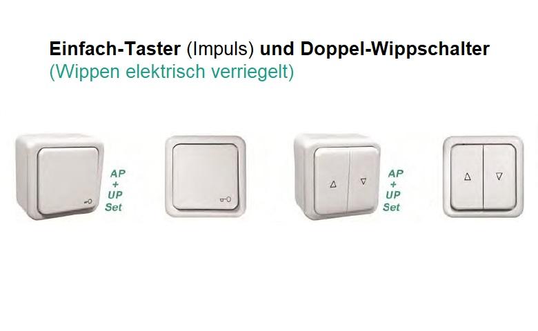 WTS - Einfach-Taster (Impulstaster)AP/UP mit Rahmen Regina